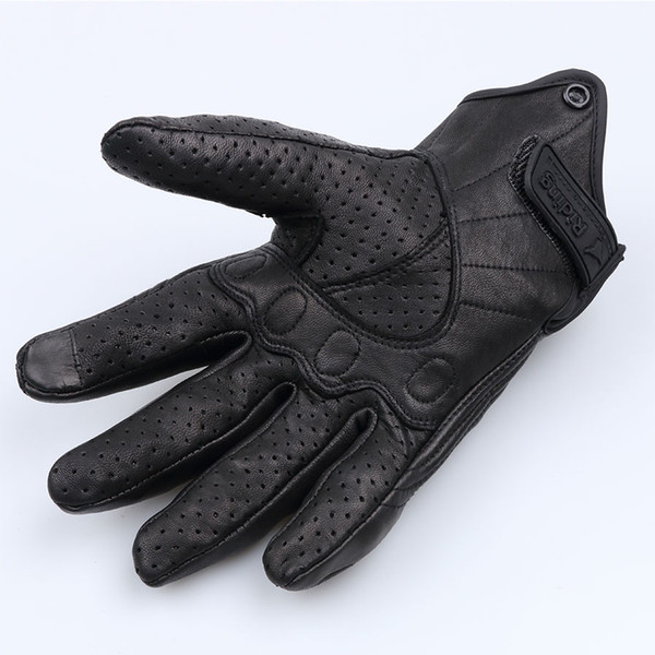 Wholesale- Universal Glove real Leather Full Finger Black moto men Motorcycle Gloves Protective hands Motocross Glove hot sale