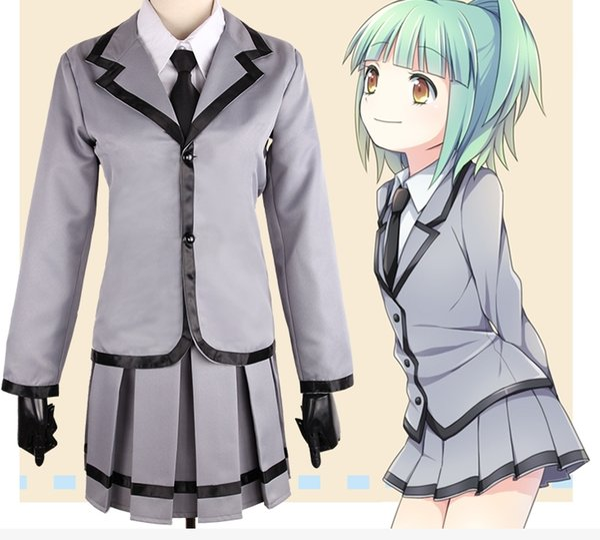 Japanese Anime Assassination Classroom Cosplay for teenager Kayano Kaede Costume Female Student Uniform Coat +Shirt+Tie+Skirt per set