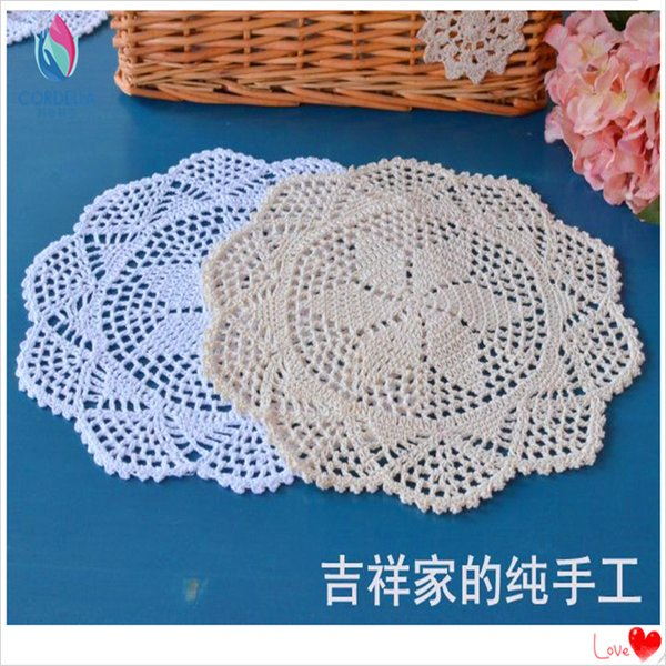 Wholesale- Europan fashion 4 pcs 30 cm square natural cotton crochet shabby chic wedding lace doilies as innovative items for home decor
