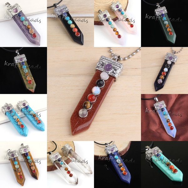 Wholesale 10pcs Silver Plated Mix Order Quartz Crystal Stone Sword Shape Inlay 7Stone Beads Healing Point Chakra Pendant