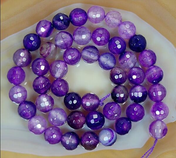 DIY Fashion Jewelry 4-14mm Natural Stones Semi-precious Beads Purple Agate Carved Surface Loose Beads