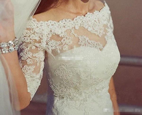 top popular Elegant Off the Shoulder Lace Appliques Wedding Bridal Jackets Half Sleeves Bolero Wraps Custom Made White Ivory 2021