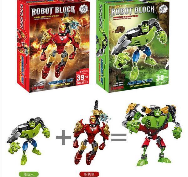 Good DIY robot building block the Avengers super hero building blocks assembly Superhero Captain America Hulk Children educational toys