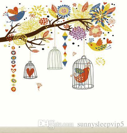 Birds Painting Wallpaper 5X7ft Vinyl Cloth Wedding Children Photography Backgrounds for Photo Studio Props Photo Backdrops