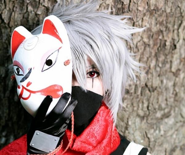 Wholesale-Naruto Hatake Kakashi Anbu Japanese Fox Mask Animal Hand-Painted Cartoon Face Mask Demon Kitsune Cosplay Masquerade Carnival