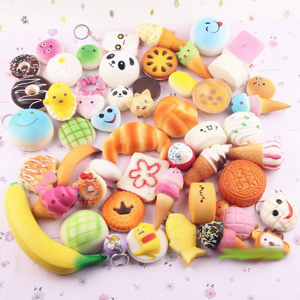 30pcs/pack Squishies Slow Rising Squishy random sweetmeats ice cream cake bread Strawberry Bread Charm Phone Straps Soft Fruit Kids Toys 555