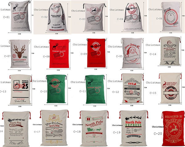 best selling 2017 new popular Christmas Large Canvas Bags 20styles for choose Santa Claus Drawstring Bags With Reindeers cotton Christmas Gift Sack Bags