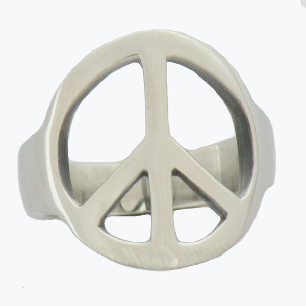 Custom made STAINLESS STEEL mens or womens jewelry Peace sign plain Ring signet ring GIFT for borthers or sisters 12W77