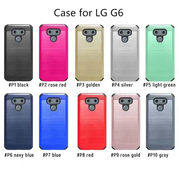 Armor Tough Brushed Case For LG G6 K10 LS777 Q7 LS775 Plus Hard Shell Back Cover For LG G5 G4 PC+TPU With Oppbag
