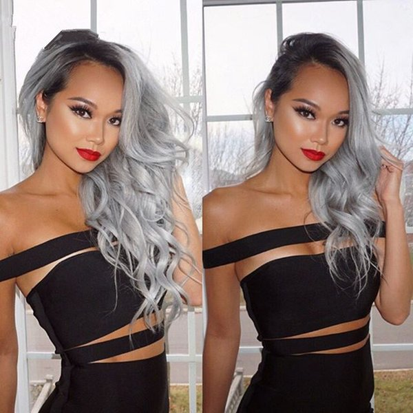 8A Grade Hair Wig Brazilian Glueless Full Lace Wigs #1b/Grey Ombre Body Wave Human Hair Lace Front Wigs Black Women