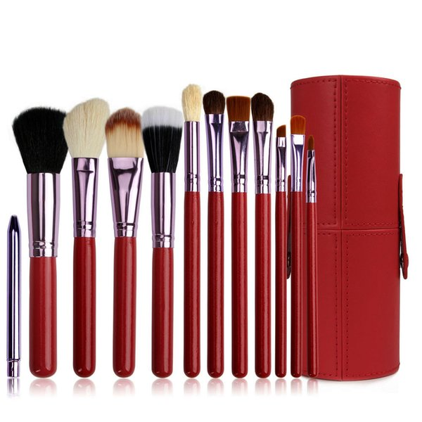 12 Pcs/Set Professional Makeup Brush Tools Set Leather Barrel Bag Cosmetic Powder Eye Shadow Brow Eyeliner Make Up Brushes Kit