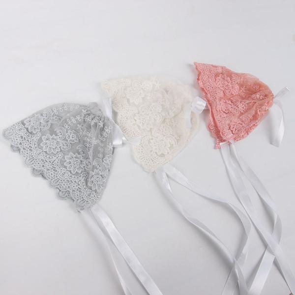 Newborn Baby Girls Photo Photography Prop Lace Floral Hat Cap Beanie Bonnet baby lace hat 3 colors available