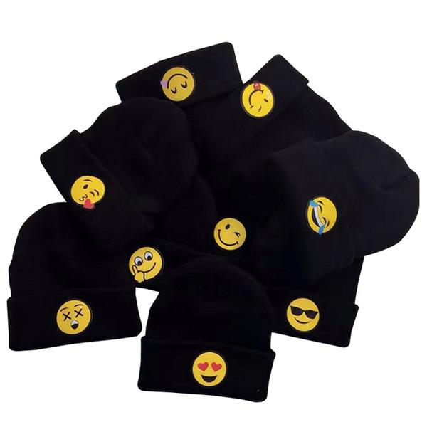 2016 moda QQ espressione faccia cappelli per bambini berretti kintted bambino per cappelli emoji inverno e in autunno