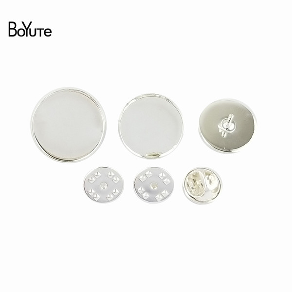 BoYuTe 50Pcs Round 12MM 14MM 16MM 18MM 20MM Cabochon Base Brooch Blanks Tray Bezel Diy Brooch Pins Jewelry Findings Components