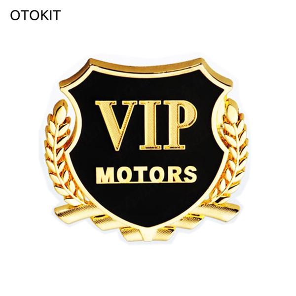 New 2pcs/set VIP MOTORS Metal Car Chrome Emblem Badge Decal Door Window Body Auto Decor DIY Sticker Car Decoration