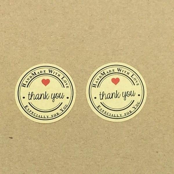 1000pcs Thank You love self-adhesive stickers kraft label sticker Diameter 3.5CM For DIY Hand Made Gift /Cake /Candy Boxes/Craft