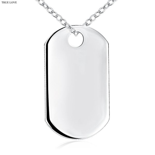 Fashion Tag Necklace 925 Silver Jewelry Pendant for boys Cool Christmas Gifts Top Quality Free Shipping