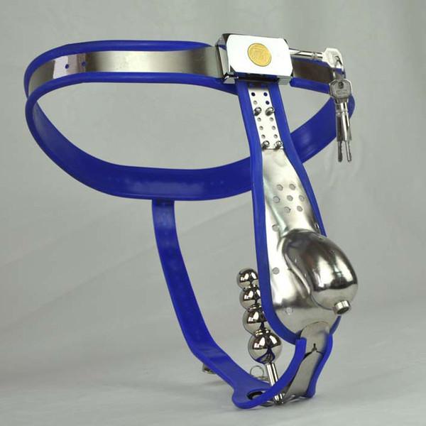 keuschheitsgürtel analplug unterwäsche männliche keuschheitsgürtel geräte blau silikonliner edelstahl männlicher schlüpfer analplug arc gürtel hosen