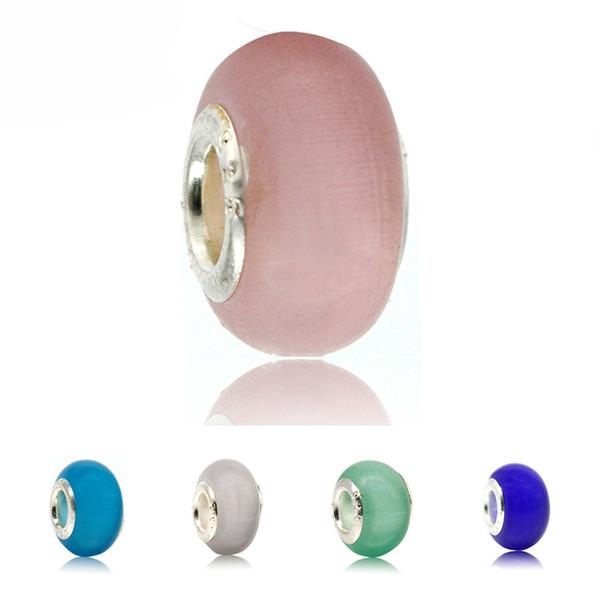 Opal Gümüş Cam Boncuk Doğal Kedi Göz Taş Avrupa Murano Spacer Boncuk pandora Gümüş Charm Bilezikler için Fit