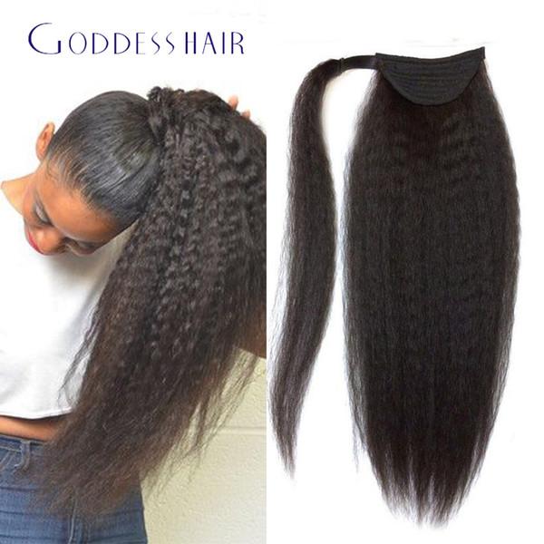 Al por mayor-venta al por mayor de pelo brasileño rizado ponytail pelo natural cabello humano extensiones de cola de caballo 16-24inch virgen cabello humano