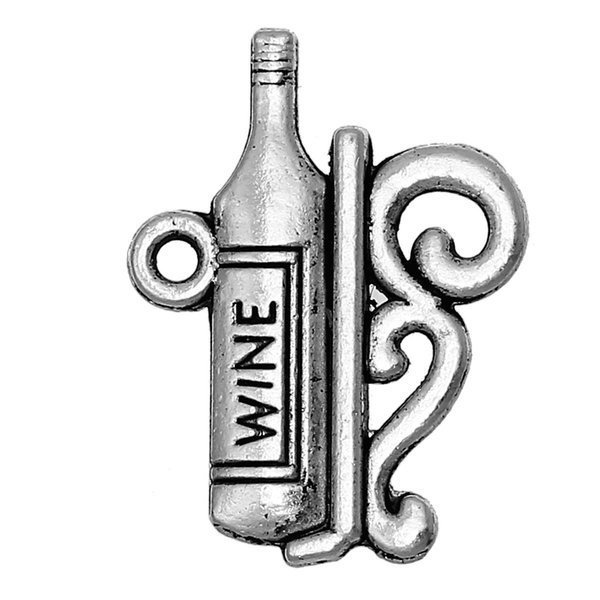"Charm Pendants Bottle Antique Silver "" WINE "" 22mm( 7/8"") x 17mm( 5/8""),30 PCs findings new jewelry making DIY"