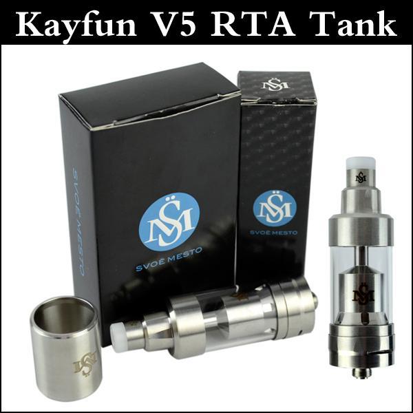 Upgarded Kayfun V5 RTA Atomizer 316 acier inoxydable Remplissage supérieur Kayfun 5 RTA réservoir avec tube en acier isolant PEEK