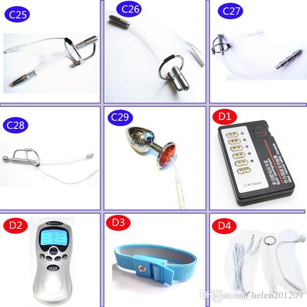 DIY Electric Urethral Sound Massager Slim Pulse Stimulate Electro Shock Urethral Catheter Penis Plug Dilator Sex Toys For Men A243-2 C