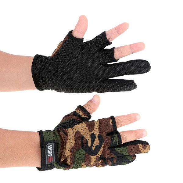 Top Quality Three Fingerless Fishing Gloves Anti-Skid Fingerless Fishing Gloves Lure Gloves Hunting Gloves Waterproof