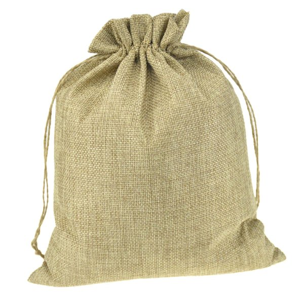 100pcs multi sizedouble Natural Color Jute Burlap Drawstring bags Gift Storage Bags For Wedding Decor Cosmetic Jewel Sundries Packaging