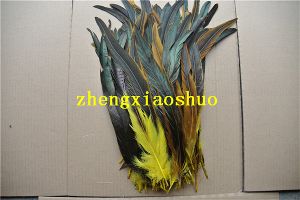 Free shipping 200pcs/lot 12-14inch yellow Cock Tail loose rooster Feather coque feather loose for Costumes event halloween party