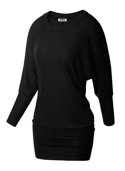 Wholesale- Womens High Stretchy Fashion Long Tees Casual Hip-Covered Loose T-Shirts Crew Neck Dolman Batwing Sleeves Basic Tunic Tops