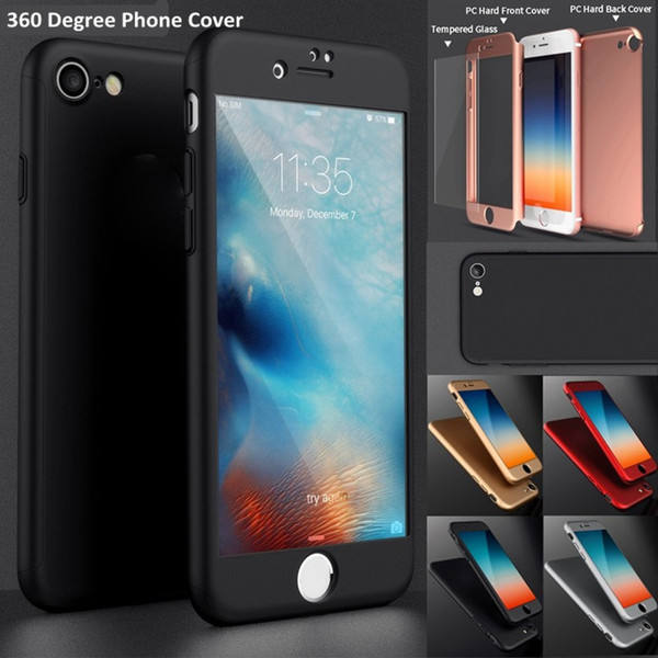 New 360 Degree Full Cover For iPhone 7 iPhone 7 Plus Hard PC Cover Case with Tempered Glass Protective Front Back Shockproof Cover