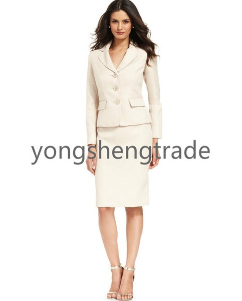 Three-Button Skirt Suit Notched Collar Pencil Silhouette Skirt Beige Suit Both Pieces Are Lined 724