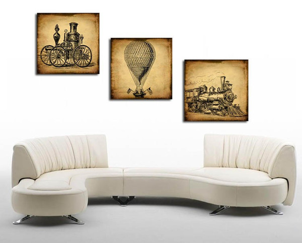 3 Panels of bikes fire balloon and train paintings for sofa background Decorative HD painting high quality free shipping