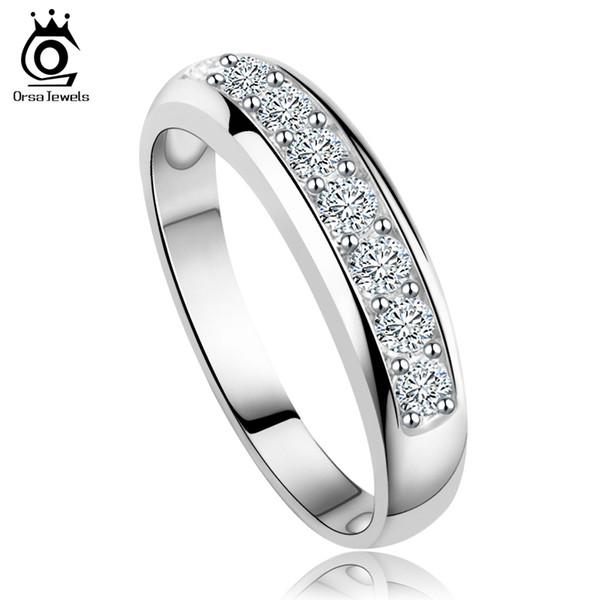 ORSA JEWELS Banda de boda de circonio austríaco de lujo para mujeres anillo de eternidad venta al por mayor Rose GoldSliver Color Ring Supplier OR24