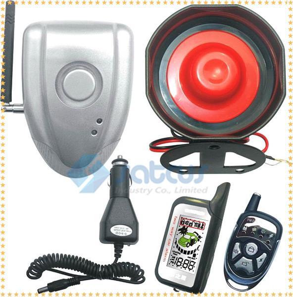 Nessuna installazione LCD fai da te bidirezionale Allarme auto Sistema di sicurezza automatica Vibrazione senza fili Allarme anti-shock Sirena e Nessun cavo Collegare all'auto