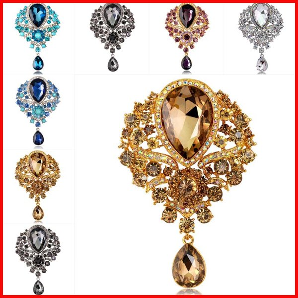 Luxury Rhinestone Crystal Brooches shiny crystal flower Water Drop brooch pins for women men banquet jewelry Christmas gift 170262