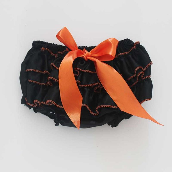 Halloween Bloomer for baby Satin Girls Boys Panties Black Infant Toddle Ruffle Bloomer Newborn Diaper Cover satin bloomer