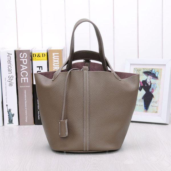 Alta Qualidade de Couro Genuíno Das Mulheres Bolsa de design 100% Real de Couro Tote bags Lady Bloqueio sacos de balde bolsa feminina