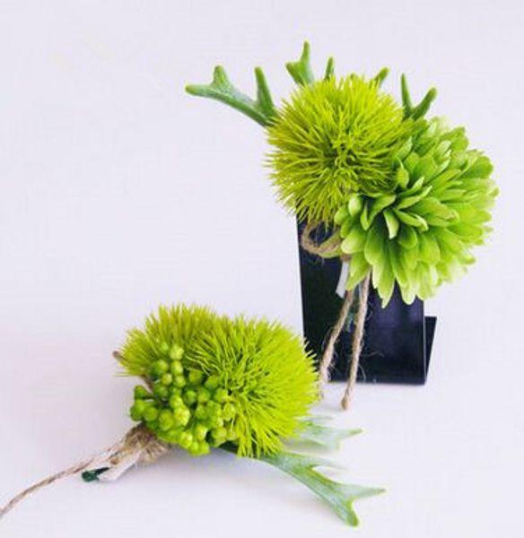 ramillete verde flor verde flor en el ojal boutonniere boda flor verde artificial