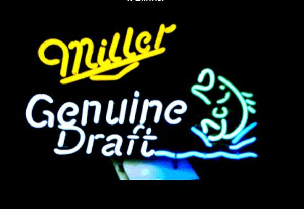 "Miller Genuine Draft Jumping Fish Neon Sign Store KTV Club Beer Bar Motel Advertising Display Custom Handmade Real Glass Neon Signs 17""X14"""