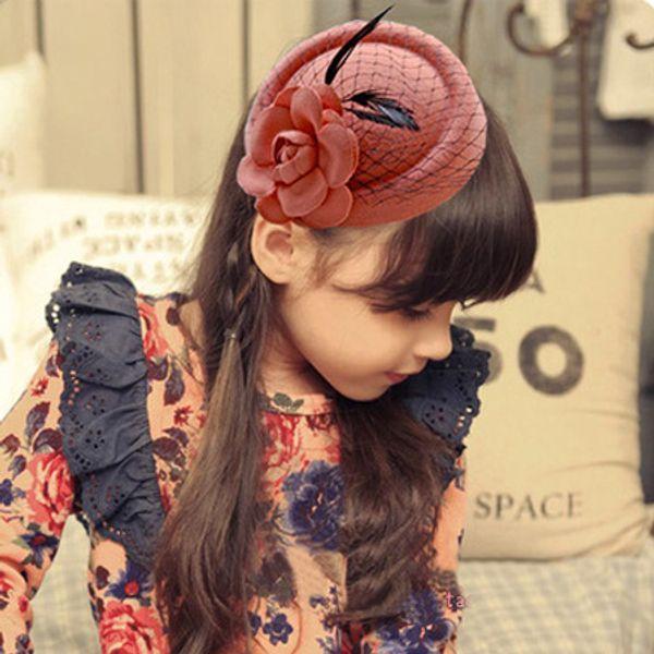 Flower Hair Clip Hair Accessories Korean Fashion Veil Stewardess Cap Hat Kid Girl Fascinator Fedora Beret Dinner Party Headwear