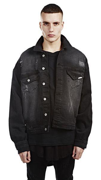 huge selection of buy real variousstyles Rockstar Style Represent Black Denim Jacket Ripped Design Drop Shoulder  Oversized Streetwear Jean Biker Jacket Fur Collar Jean Jacket From ...