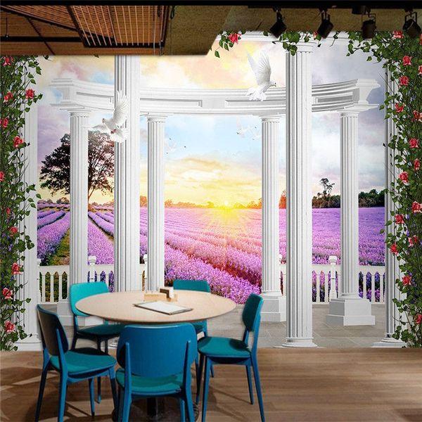 Großhandel 3D TV Hintergrund Tapete Schlafzimmer Großes Wandbild Warme  Romantische Hochzeit Zimmer Europäischen Tapeten Lavendel Ölgemälde Brauch  Von ...