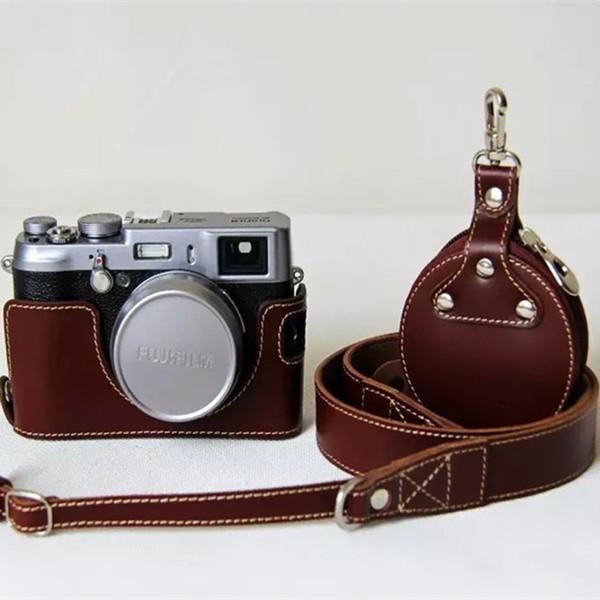 Für Leder Tasche Großhandel Echtes Set Fuji Abdeckung Zubehör Fall X100s Neue X100 Harte Fujifilm X100t Half Kamera Body Kostenloser zVpUSqMLG