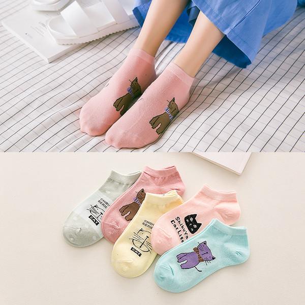 Nouvelles chaussettes de printemps et d'automne dames japonaises et chaussettes de chat couleur dessin animé de bonbons et chaussettes de coton enfants