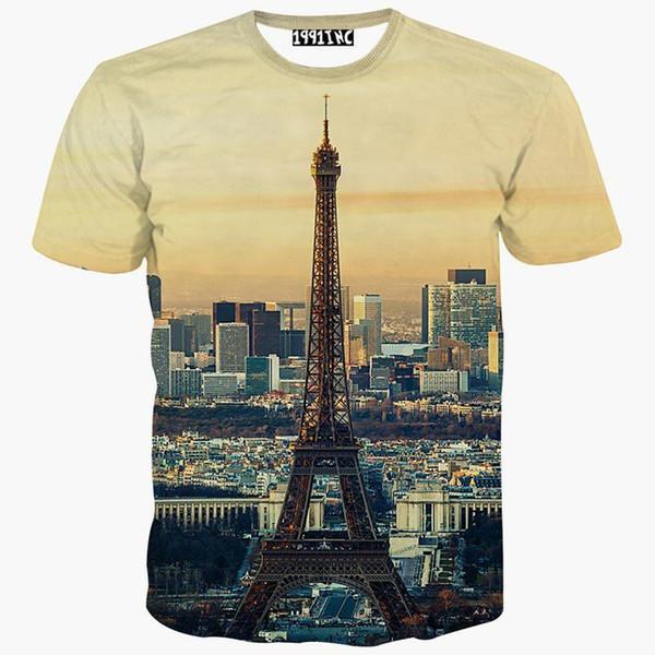 tshirt Europe Fashion t-shirt men/women 3d t shirt summer tops tees print City Paris Eiffel Towers short sleeve tshirt
