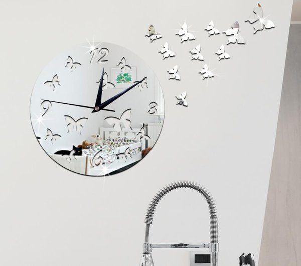 best selling Butterfly mirror wall clock Creative personality household mirror wall stickers acrylic mirror perspective pocket watch