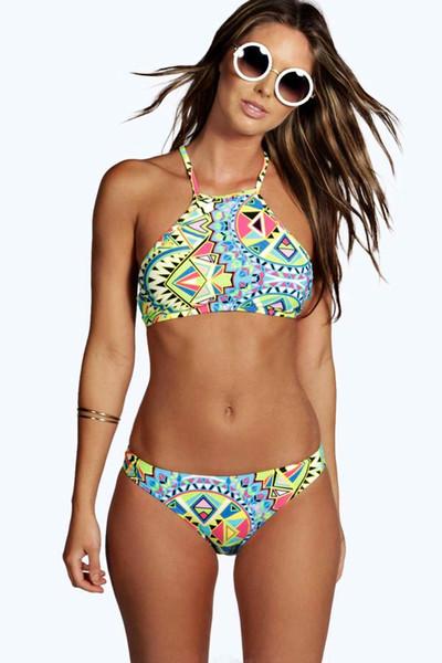 MOXIAN/The new 2016 split bikini female swimsuit models vest printing Small fresh high elastic halter sexy bikini Geometric stripes S-L 0332