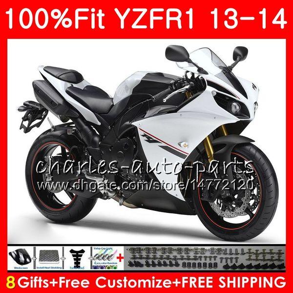 YAMAHA YZF 1000 Için beyaz siyah Enjeksiyon Vücut YZF R 1 YZF-1000 YZF-R1 13 14 86NO25 YZF1000 YZFR1 13 14 YZF R1 2013 2014 Fairing kiti 100% Fit